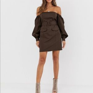 ASOS off shoulder utility mini dress with pockets